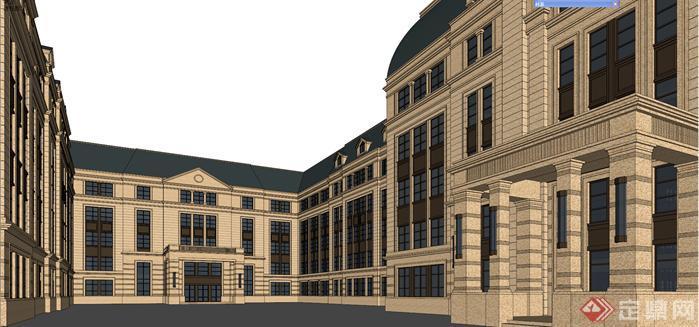 某欧式风格学校教学楼的SU模型,该模型制作精美,高贵大气。适合借鉴参考或稍微修改后作为素材使用,值得下载。