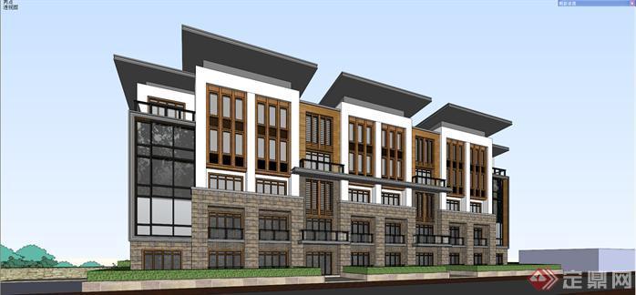 某新中式风格山地酒店建筑设计方案效果图(2)