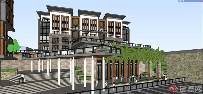 某新中式风格山地酒店建筑设计方案效果图(4)图片