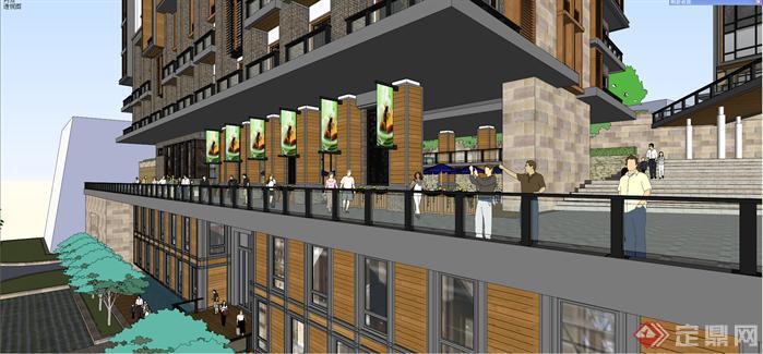 某新中式风格山地酒店建筑设计方案SU模型高清图片