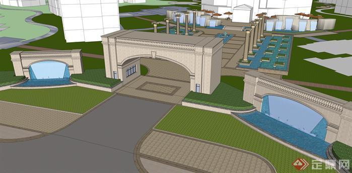 某欧式小区入口景观设计方案su模型[原创]