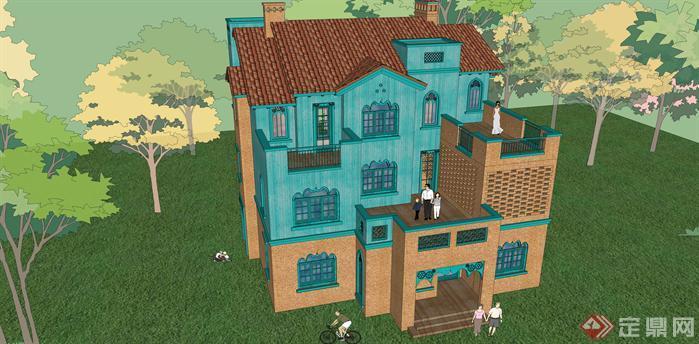 某维吾尔族风格别墅建筑设计方案su模型[原创]
