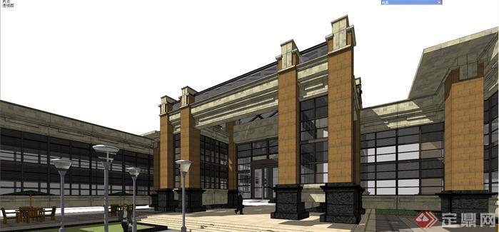某简欧风格商业购物街建筑设计方案su模型[原创]