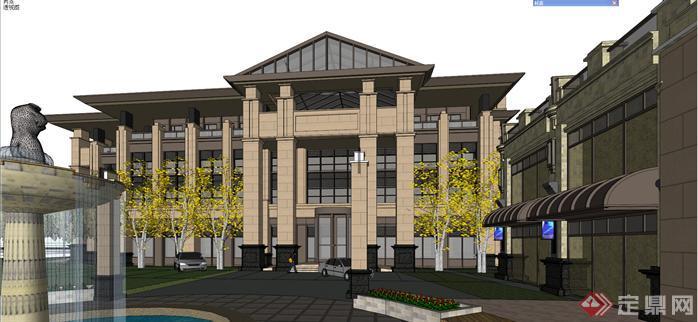 某简欧风格商业购物街建筑设计方案效果图(4)