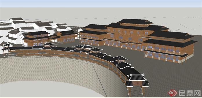 某苗族干栏式度假旅馆建筑设计SU模型