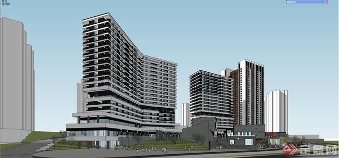 某现代山地商业广场,住宅建筑设计方案效果图(3)