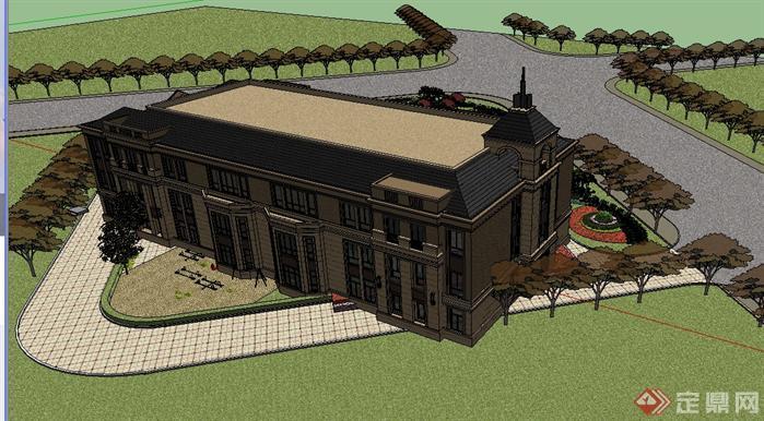 某简欧小区配套幼儿园建筑设计方案效果图(2)
