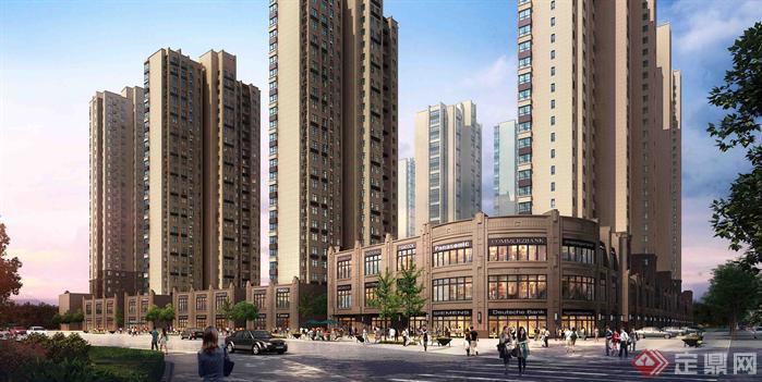 某欧式住宅楼,沿街商业建筑设计方案su模型 含效果