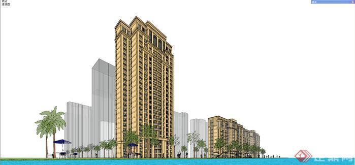 某欧式高层住宅小区建筑设计su模型1
