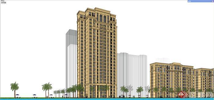 某欧式高层住宅小区建筑设计SU模型,典型欧式住宅区的模型图,模型场景较大,制作较为精细,主要以住宅区建筑和相邻街道景观设计为主,整体表现欧式住宅区的特点,可作为欧式住宅区建筑设计的参考资料。