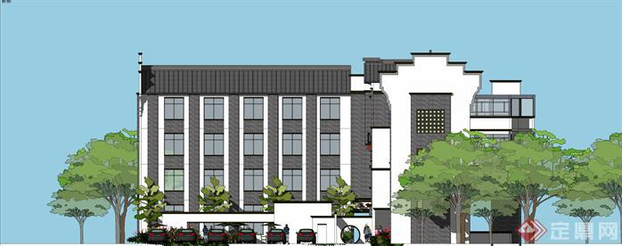 重庆某新中式宾馆建筑设计方案效果图(3)