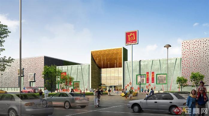 某现代风格超市建筑设计方案图[原创]