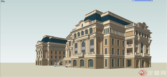 某欧式商务办公楼建筑设计方案效果图(1)
