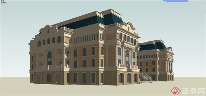 某欧式商务办公楼建筑设计方案su模型[原创]
