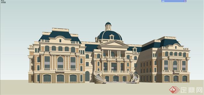 某欧式商务办公楼建筑设计方案效果图(3)