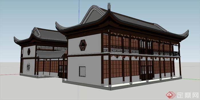 某传统中式风格四合院住宅建筑su模型[原创]