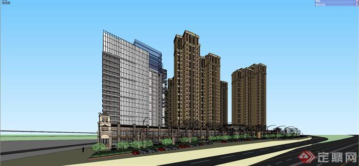 某简欧式高层公寓+商业酒店建筑设计su模型[原创]