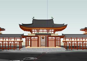 某日式入口廊架设计方案SU(草图大师)模型