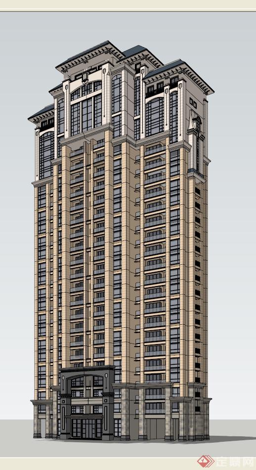 某简欧风格两单元高层住宅楼建筑su模型[原创]