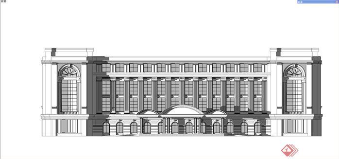某欧式方形商务酒店建筑方案设计su模型[原创]