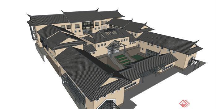 某新中式藝術博物館建筑設計su模型1