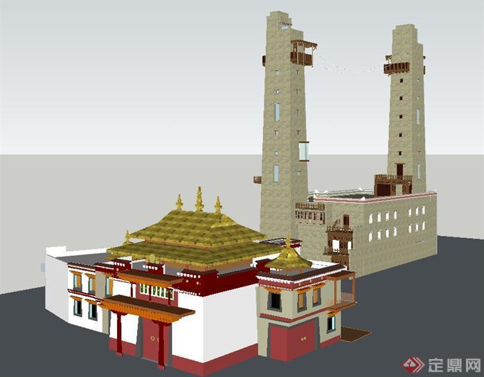 某藏族风格碉楼建筑设计方案su模型[原创]