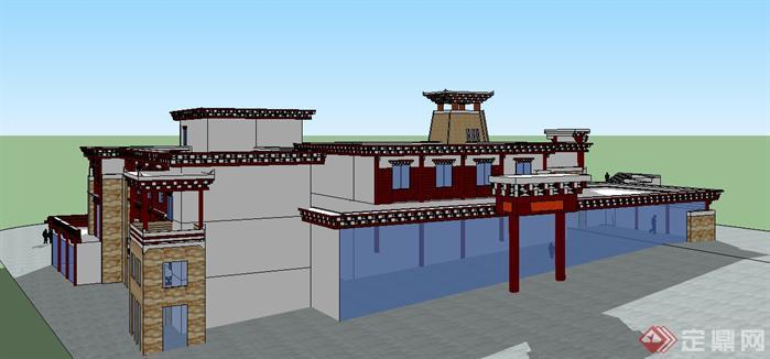 某旅游景区藏式碉楼建筑方案su模型[原创]