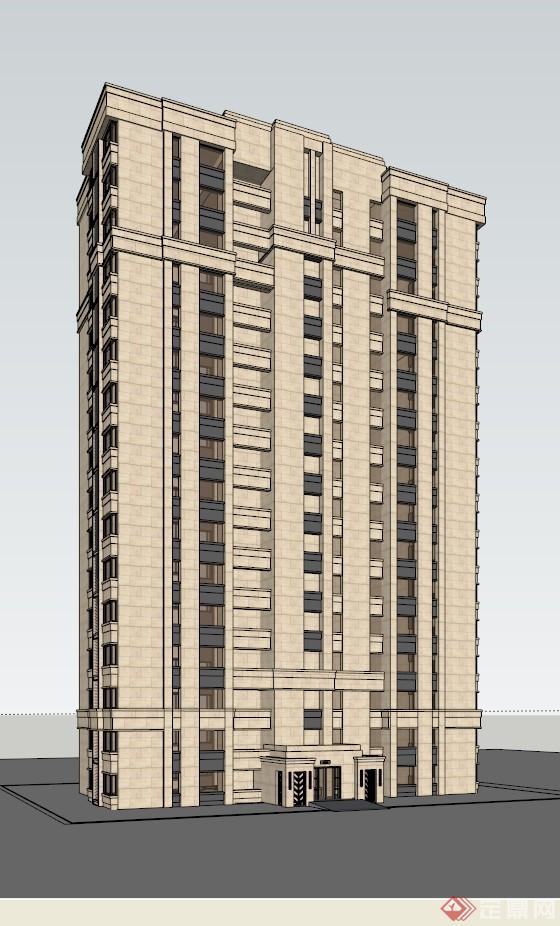 某簡歐高層公寓樓建筑設計方案效果圖(2)