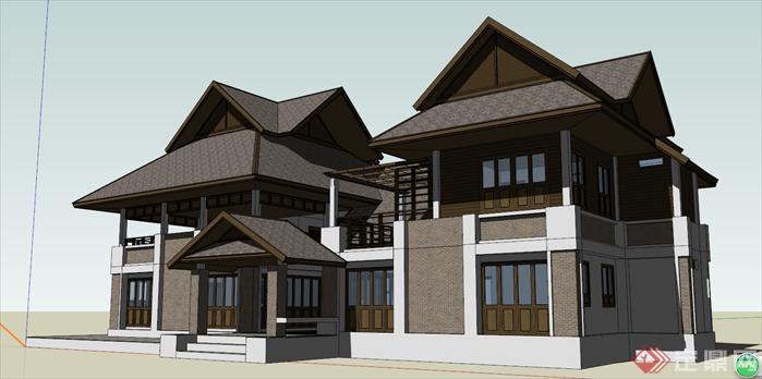 某日式传统双拼别墅建筑设计方案效果图(2)