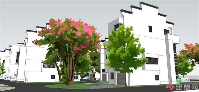 某新中式居住小区建筑设计方案效果图(3)