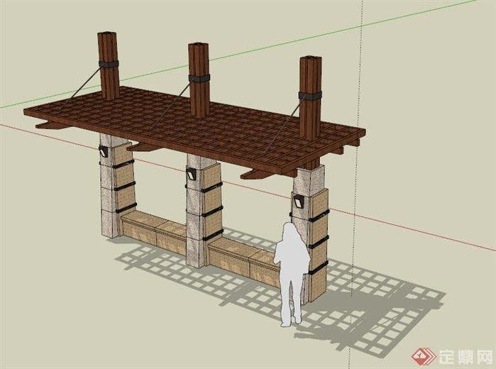 某新中式花架,景观亭建筑设计方案su模型