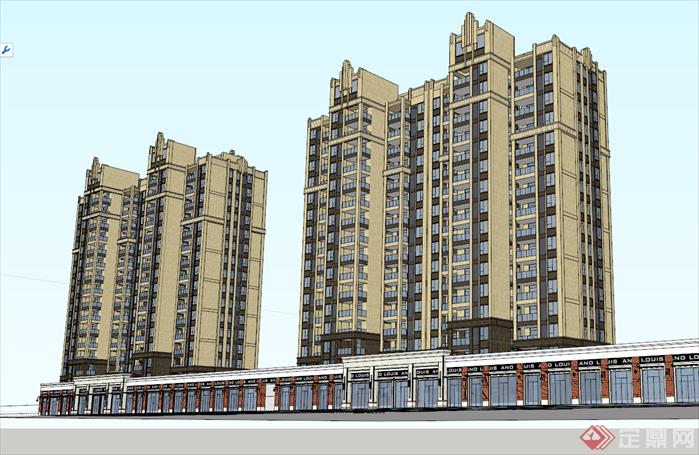 某欧式风格高层住宅楼建筑方案设计su模型[原创]