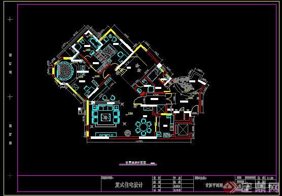 某复式别墅住宅建筑设计方案首层平面图(1)