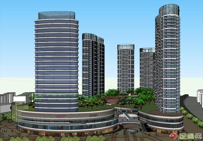 某弧形城市综合体建筑su设计模型[原创]