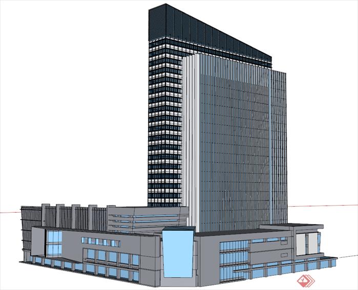 某商务办公楼建筑设计方案su模型[原创]