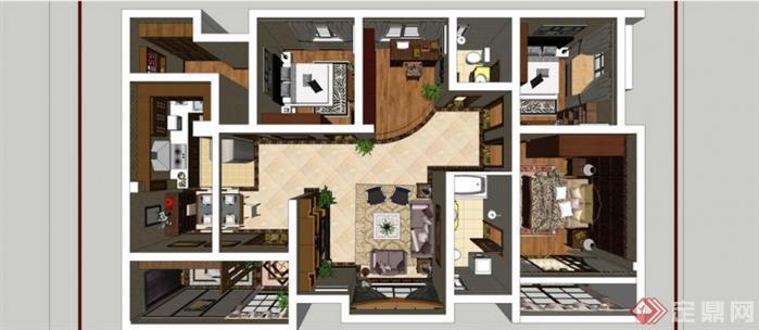 某美式风格室内装修设计方案su模型
