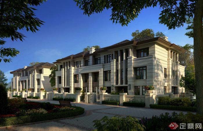 某现代风格联排别墅su模型建筑设计
