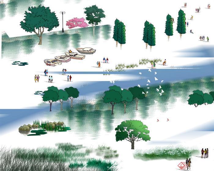 手绘立面效果图psd分层素材,素材中有多种园林景观植物的立面图,有