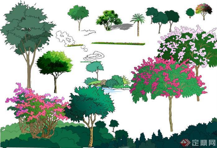 园林景观配景手绘立面植物设计素材01(psd格式)