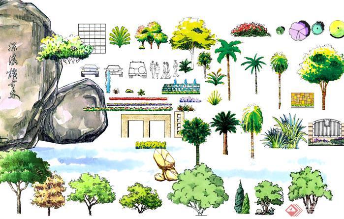 手绘景观植物立面效果图psd分层素材