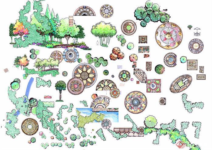 手绘园林植物平面效果图psd分层素材