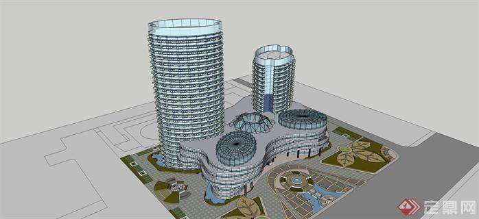 某现代模型v模型办公楼建筑设计方案su高层[原务成建筑设计有限公司丽水图片