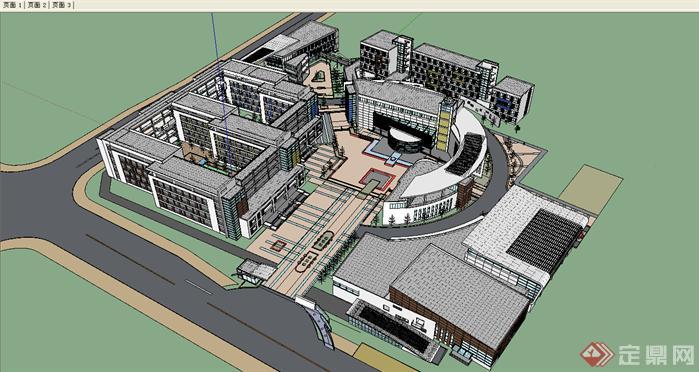 某中学建筑设计su方案模型