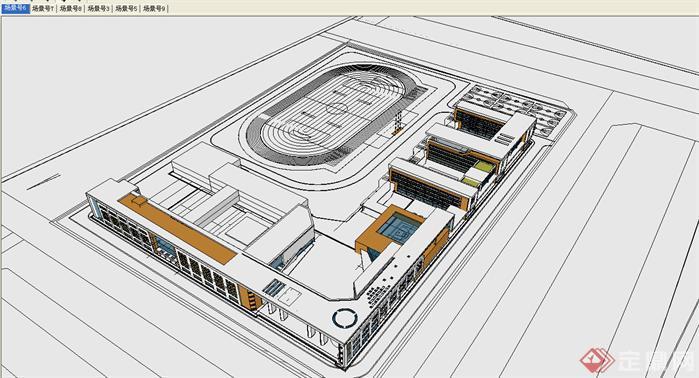 某中小学校规划 建筑设计方案 su模型