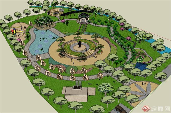 某现代风格公园景观规划设计su模型