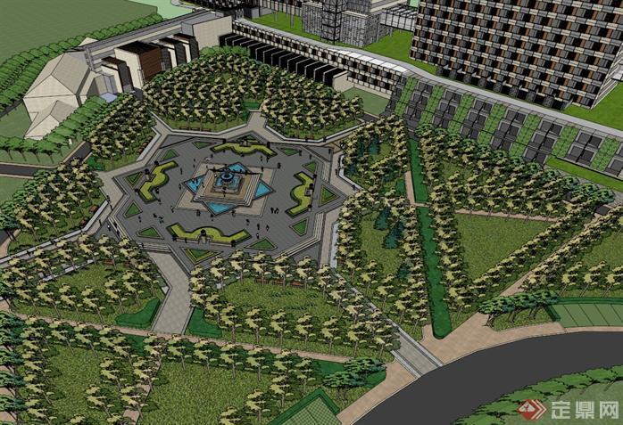 某現代廣場景觀設計方案效果圖(1)
