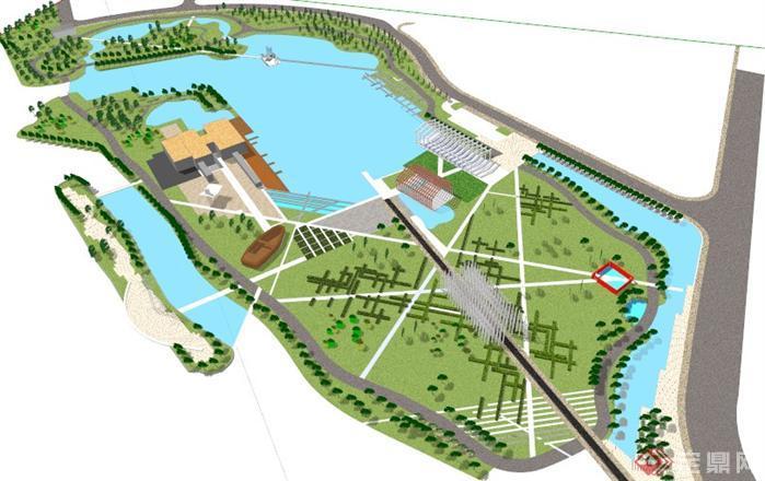 某滨水广场景观规划设计su模型