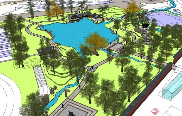 某个现代中式风格公园景观规划设计su模型