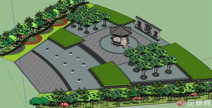 广场内园林植物和园林小品的规划,植物景观规划做的较为细致,可作为