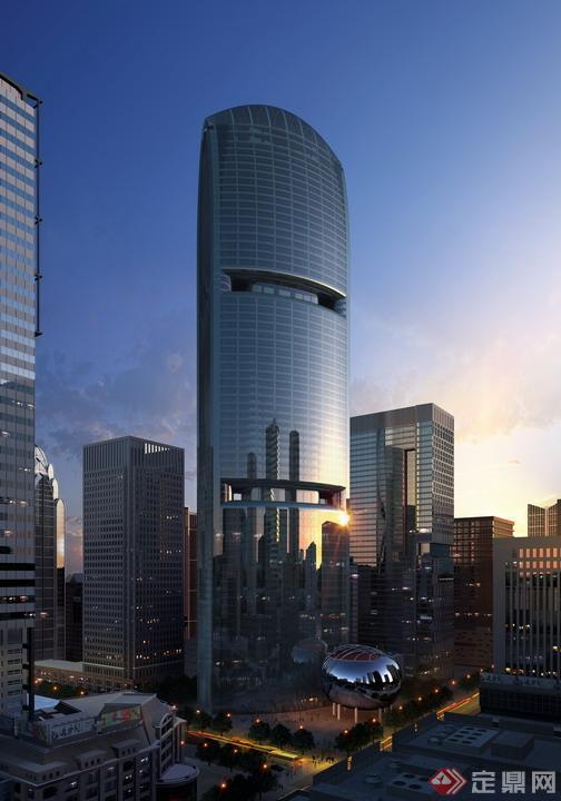 某现代风格商业大厦建筑方案设计效果图(psd格式)